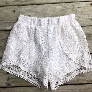 Charlotte Russe white lace Highwaisted Shorts
